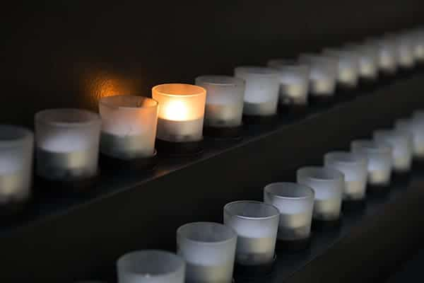 Candles in the Museum's Hall of Remembrance.