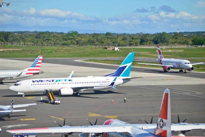 Planes on the ramp at Liberia International Airport in Guanacaste, Costa Rica.