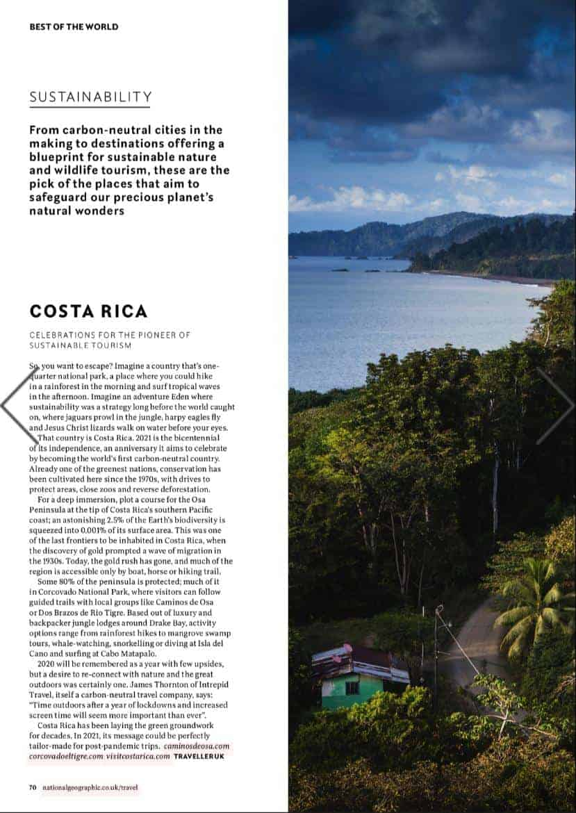 Costa Rica was highlighted in the Jan/Feb 2021 edition of National Geographic UK.