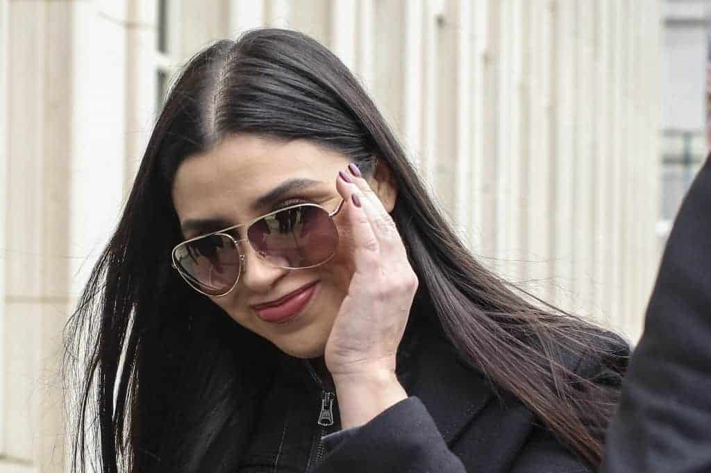 In this file photo Emma Coronel Aispuro,(C) wife of Joaquin 'El Chapo' Guzman leaves from the US Federal Courthouse after a verdict was announced at the trial for Joaquin 'El Chapo' Guzman on February 12, 2019 in Brooklyn, New York.