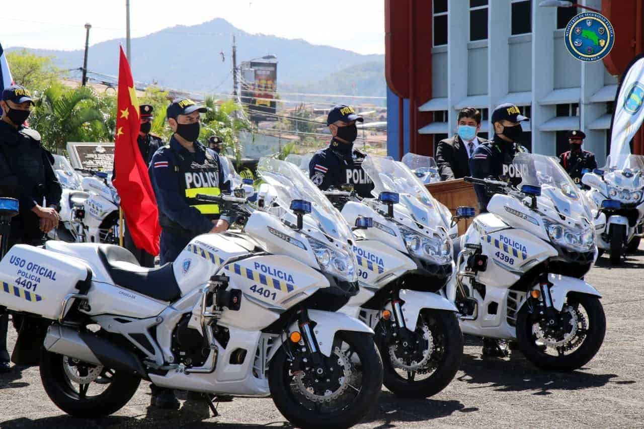 China donated 100 police motorcycles to Costa Rica during a ceremony on February 22, 2021.