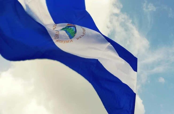 The flag of Nicaragua.
