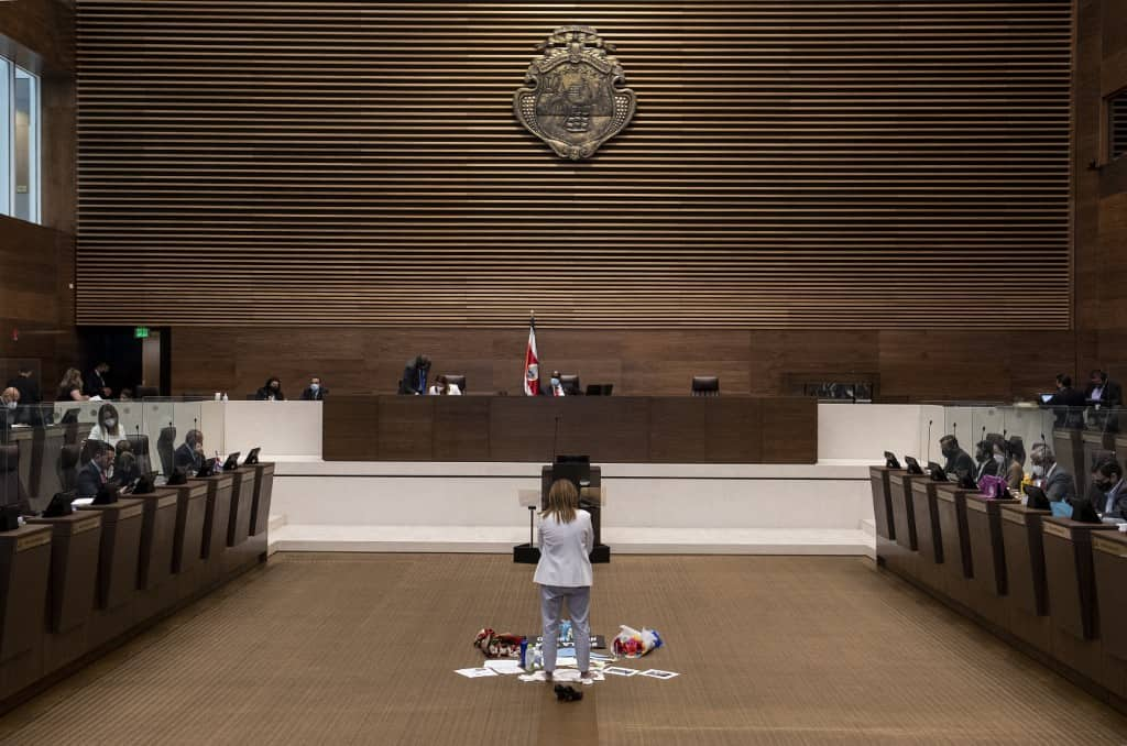 Costa Rica's Deputy Nidia Cespedes protests before the Legislative Plenary for the third straight day in San Jose, on March 24, 2021 against a bill proposing the decriminalisation of abortion.