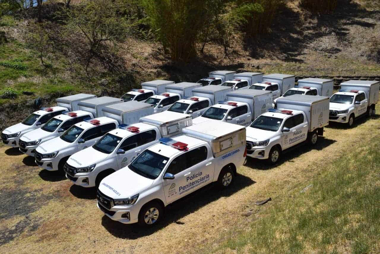 Toyota Hilux vehicles donated to Costa Rica by the U.S. Embassy.