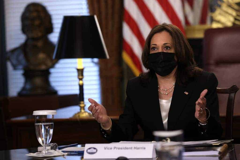 U.S. Vice President Kamala Harris participates in a virtual roundtable with experts on the southern border crisis at the Vice President's Ceremonial Office at Eisenhower Executive Office Building of the White House on April 14, 2021 in Washington, DC.