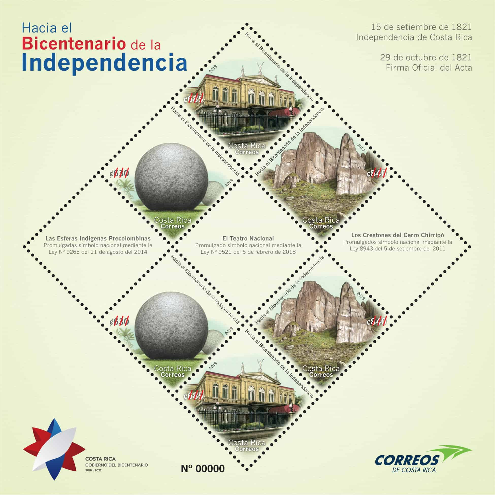 Postage stamps commemorating Costa Rica's bicentennial.