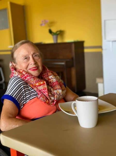 One of the residents of Bello Horizonte enjoys a coffee break.