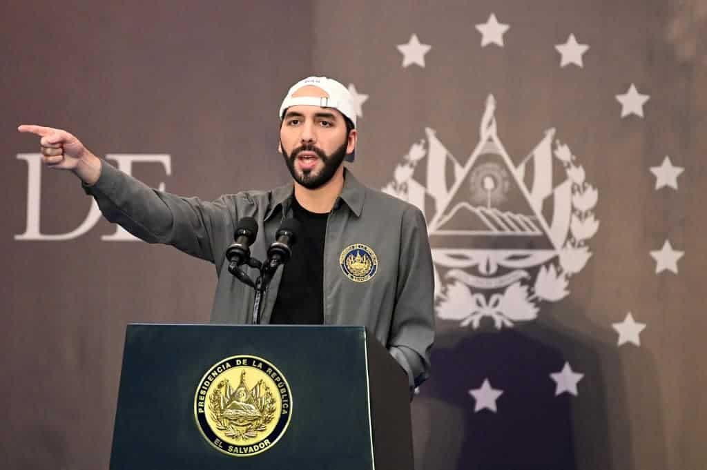 In this file photo taken on February 28, 2021, Salvadoran President Nayib Bukele delivers a press conference at a hotel in San Salvador.
