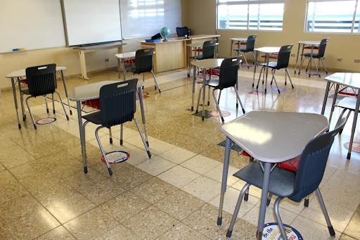 A physically distanced classroom at Lincoln School in Santo Domingo, Costa Rica.