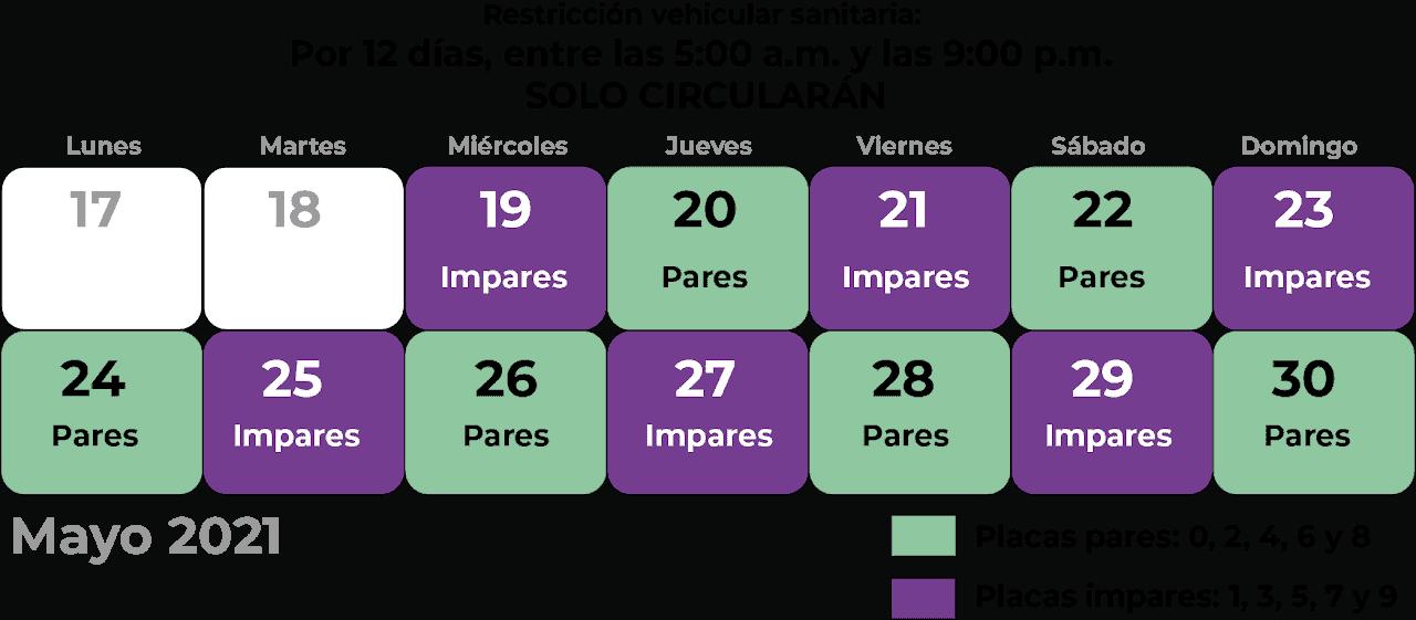 Costa Rica coronavirus vehicle restrictions for May 2021.