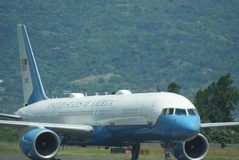 A Boeing C-32 carrying U.S. Secretary of State Antony Blinken
