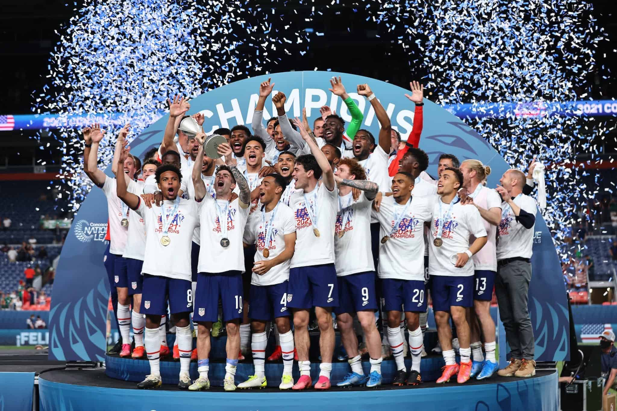 Christian Pulisic and the USMNT celebrate winning the CONCACAF Nations League on June 6, 2021.