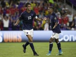 Bryan Ruiz celebrates a goal against Jamaica at the 2021 Gold Cup.