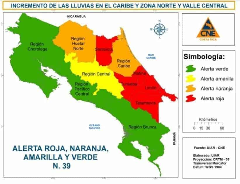 Red Alert issued for Turrialba and four other Costa Rica cantons on July 23, 2021.