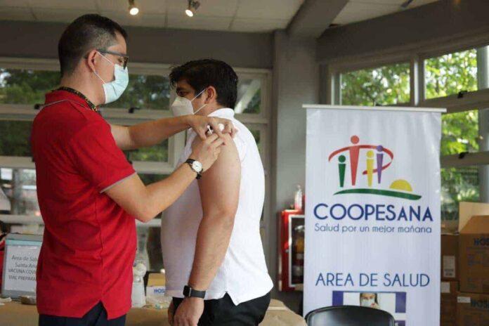 Carlos Alvarado receives the Covid-19 vaccine in Costa Rica on July 16, 2021.