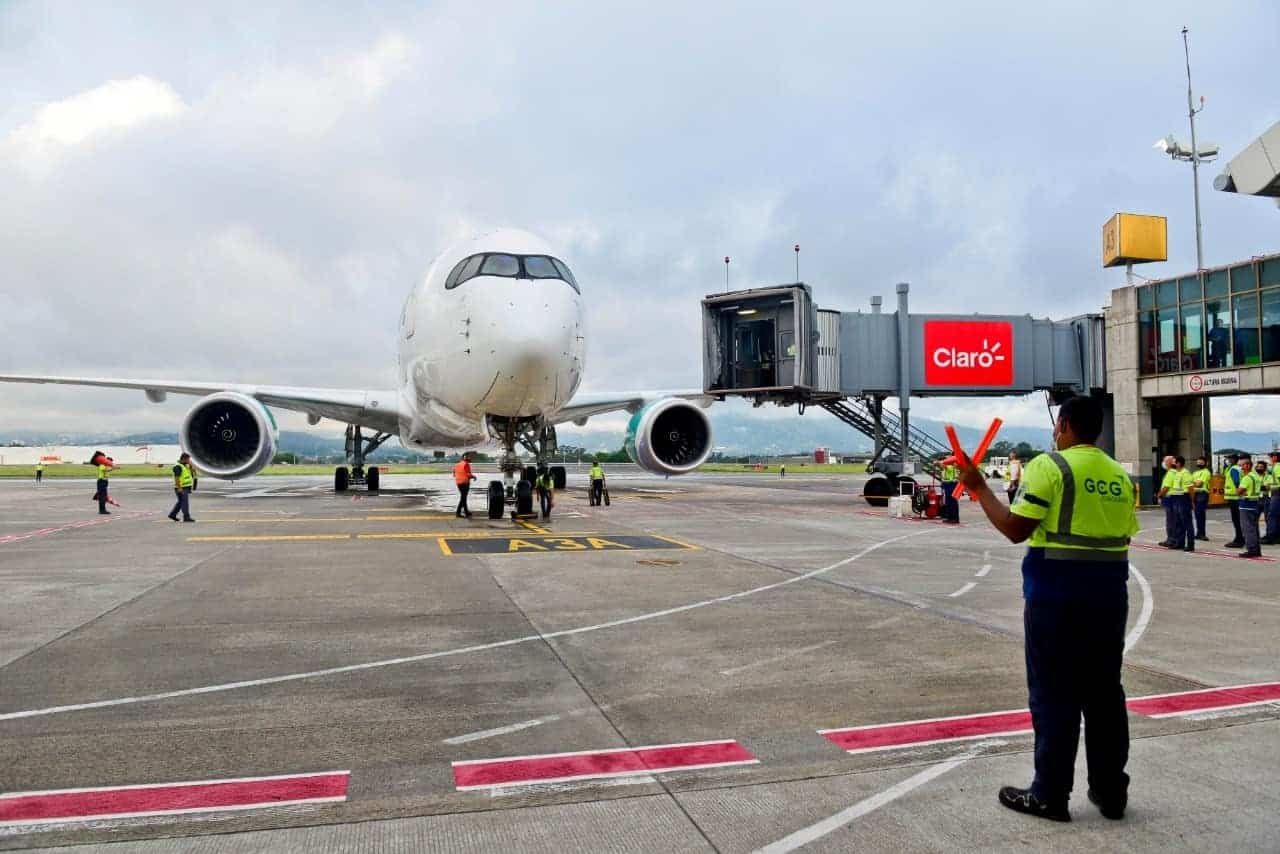 An IberoJet Airbus A350-900 at SJO airport in Costa Rica on July 13, 2021.