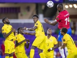 Kendall Waston skies for a header in the Gold Cup against Guadeloupe on July 12, 2021.