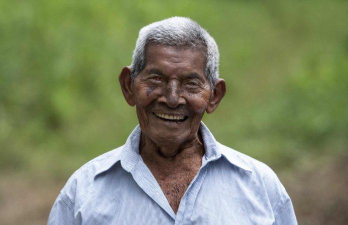 Saturnino Lopez Hernandez, 94, smiles at his home in Nicoya, Costa Rica