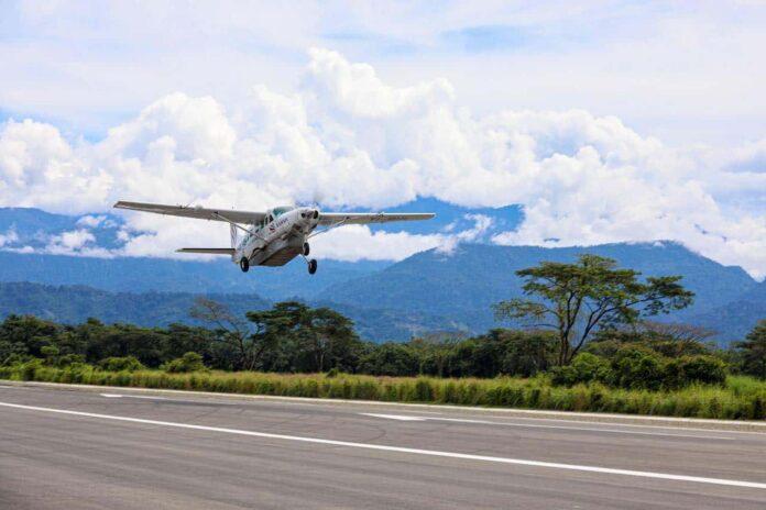 A SANSA airplane at Quepos La Managua Airport in Costa Rica.