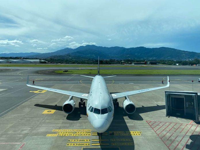 A plane on the ramp at Juan Santamaría International Airport (SJO) near San José, Costa Rica.